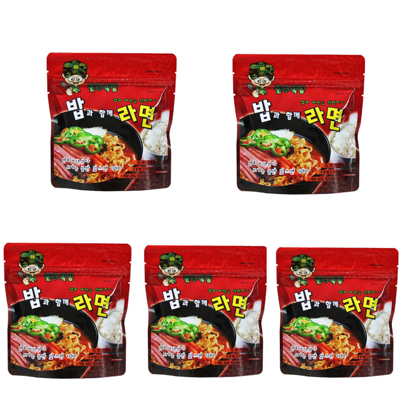 5Pcs Korean Military Food Camping Rice and Ramen Meal Combat Emergency Rations