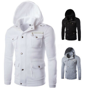 Winter-Men-039-s-Hoodie-Hooded-Sweatshirt-Botton-Coat-Jacket-Outwear-Thick-Tops