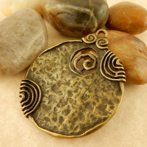 5 Antiqued Copper or Bronze Spiral pendants