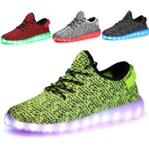 Details About Unisex Women Men 7 Color Usb Led Light Up Shoes Lace Up Casual Luminous Sneakers
