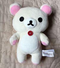 "Rilakkuma Plush White 7"" Bear Teddy Red Button 2013 San-X Sanrio Pink Ears Paws"
