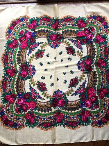 Russian Original Floral LARGE Blue//White//Green//Black Shawl Scarf Wool no fringe