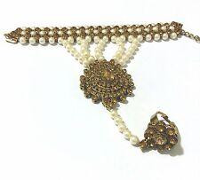 NEW GOLD STONES HAND CHAIN PANJA RING BRACELET HAND JEWELLERY BRONZE GOLD PEARL