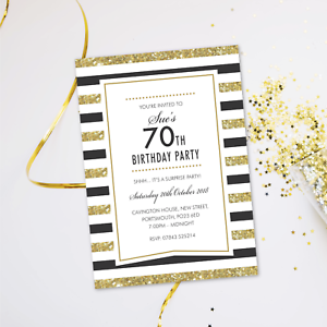 Image Is Loading Surprise 70th Birthday Party Invitations Evening Disco Cards