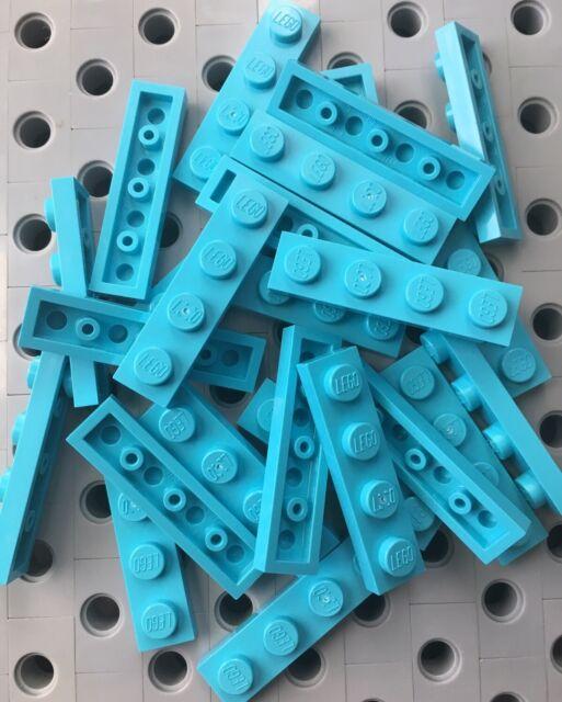 Lego 5 New Medium Azure Tiles 2 x 4 Flat Smooth Pieces