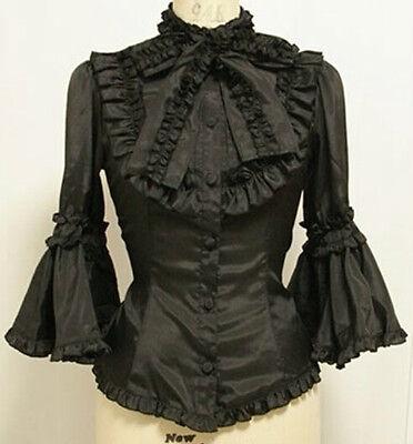 Ladies Gothic Ruffles Lolita Princess Cosplay Blouse Shirt Top Tailor Made