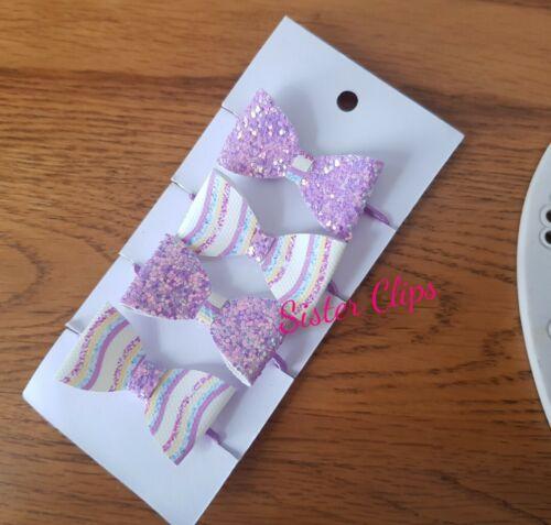 Le Ragazze FATTO a MANO 4 bambino//neonato lilla Rainbow Glitter Fiocco Per Capelli Bobbles
