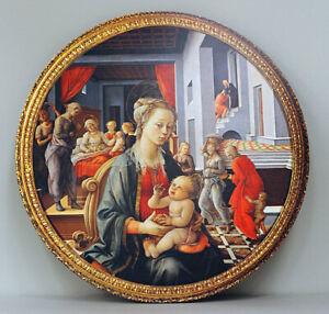 Quadro-tondo-su-tavola-MADONNA-con-BAMBINO-cm-60x60-Mary-and-baby-Jesus