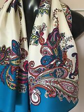 Rare~New Anthropologie Floral Bouquests Square White Silk Scarf