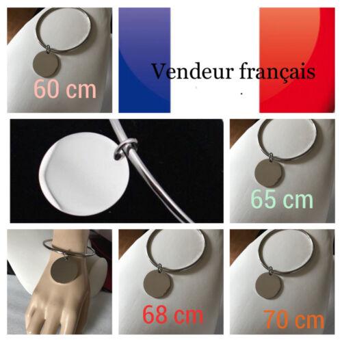 Bracelet jonc chic pendantif rond en Acier Inoxydable Tailles Aux Choix