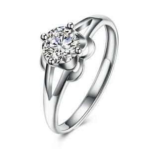 Damen-Solitaer-Ring-925er-Sterling-Silber-Rhodiniert-Zirkonia-Hochglanzpoliert