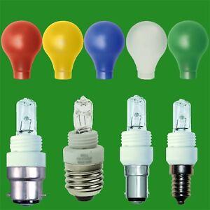 2x 28W G9 Halogen GLS Light Bulb Coloured Adaptor Covers E27 B22 E14 B15