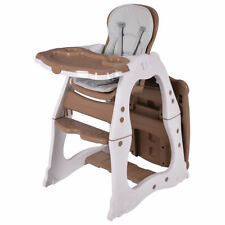 Costzon 3 In 1 Baby High Chair Desk Convertible Play Table Conversion Seat Brown