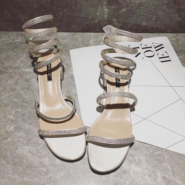 Sandalen 1 cm elegant Gold strass quadrat quadrat quadrat niedrig sandalen simil leder 1170   d94650