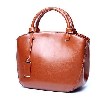 Retro Women Genuine Cow Leather Shoulder Bag Messenger Handbag Wiped Color Green