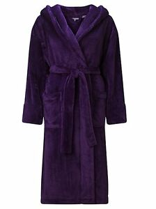 691f0f4235 100% Cotton Velour Hooded Robe Plush Terry Hooded Bathrobe Unisex ...