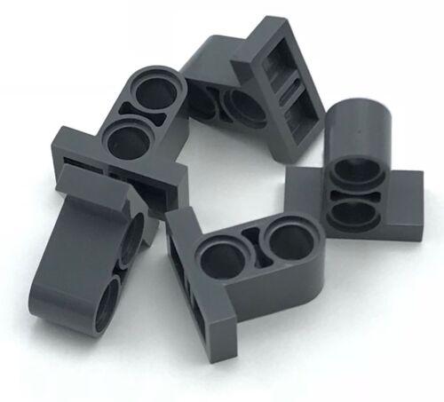 Lego 5 New Dark Bluish Gray Technic Pin Connector Plate 1 x 2 x 1 2//3 w// 2 Holes