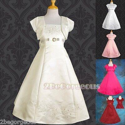 Satin Wedding Flower Girl Bridesmaid Party Communion Dresses Age 2-12 Years 018J