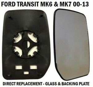 FRONT-DOOR-WING-MIRROR-GLASS-FORD-TRANSIT-MK6-MK7-2000-2014-DRIVERS-RIGHT-SIDE