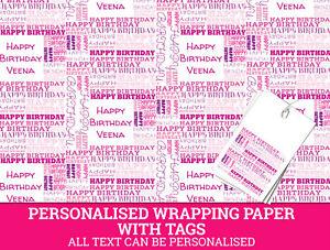 Personnalise-Papier-Cadeau-tout-nom-tout-age-Joyeux-Anniversaire-Rose-Papier-Cadeau