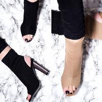 SPYLOVEBUY MAPLE Open Peep Toe Block Heel Knit Ankle Boots Shoes SZ 3-8