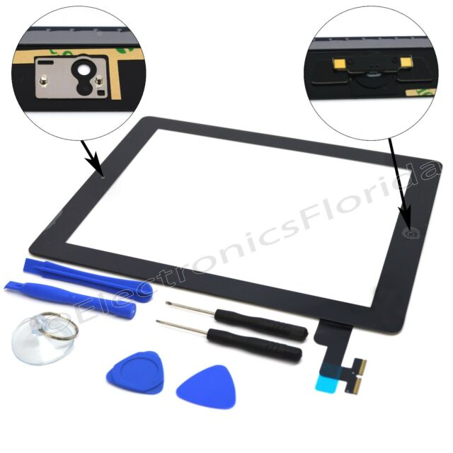 Touch Screen Digitizer Replacement + Adhesive Tape for Apple iPad 2 Black