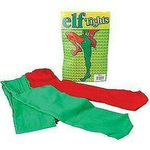ELF TIGHTS RED & GREEN, ELVES FANCY DRESS ACCESSORY