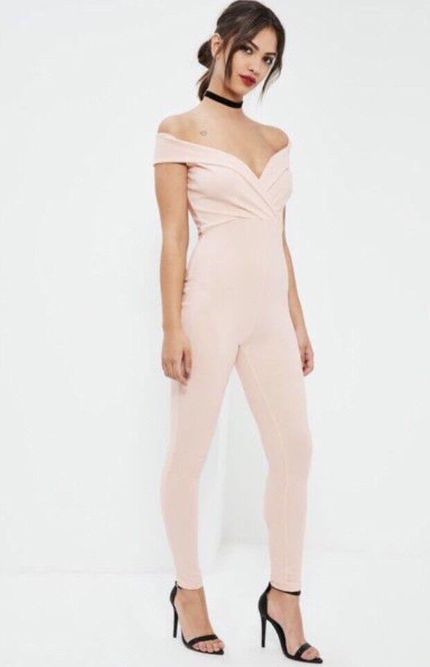 Adroit Bnwt Missguided Bardot Combinaison Taille 10 Wrap Front Skinny Soirée Parti Le Plus Grand Confort