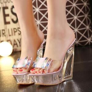 Women-039-s-Clear-Transparent-High-Platform-Open-Toes-Wedge-Heels-Sandals-Pump-Shoes