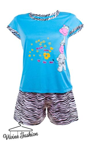 14 8 16 10 12 Señoras Camiseta de manga corta y pantalones cortos de pijama Set 6