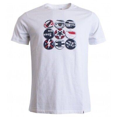 BNWT Pretty Green Gaskell Badge Print T-Shirt White XXL RRP £35 A8GMU97549855
