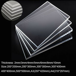Clear 2 4pcs Plate Laser Cut Plastic Acrylic Sheet Glass Thick 2 4 5 6 8 10mm Ebay
