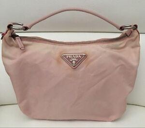 8be881b1cde Image is loading Authentic-Prada-Pink-Tessuto-Nylon-Leather-Trim-Shoulder-