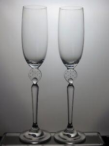 "Tall Crystal Champagne Flutes Set Of 2 - 8 Oz Flutes - 11"" Tall Biojucvv-08004644-948212338"