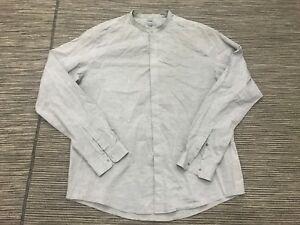 COS-Grandad-Collar-Slim-Button-Front-Dress-Shirt-Men-039-s-16-1-2-Long-Sleeve-Gray