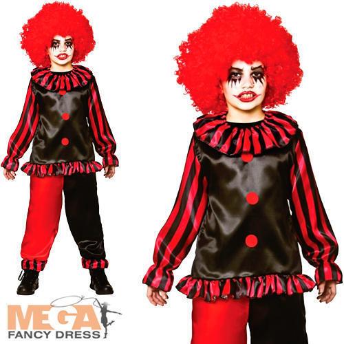 Evil Clown Boys Fancy Dress Halloween Horror Scary Circus Kid Childs Costume New
