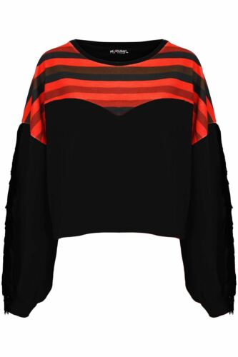 Womens Ladies Multi Stripes Side Tassels Fringe Batwing Baggy Oversized Crop Top