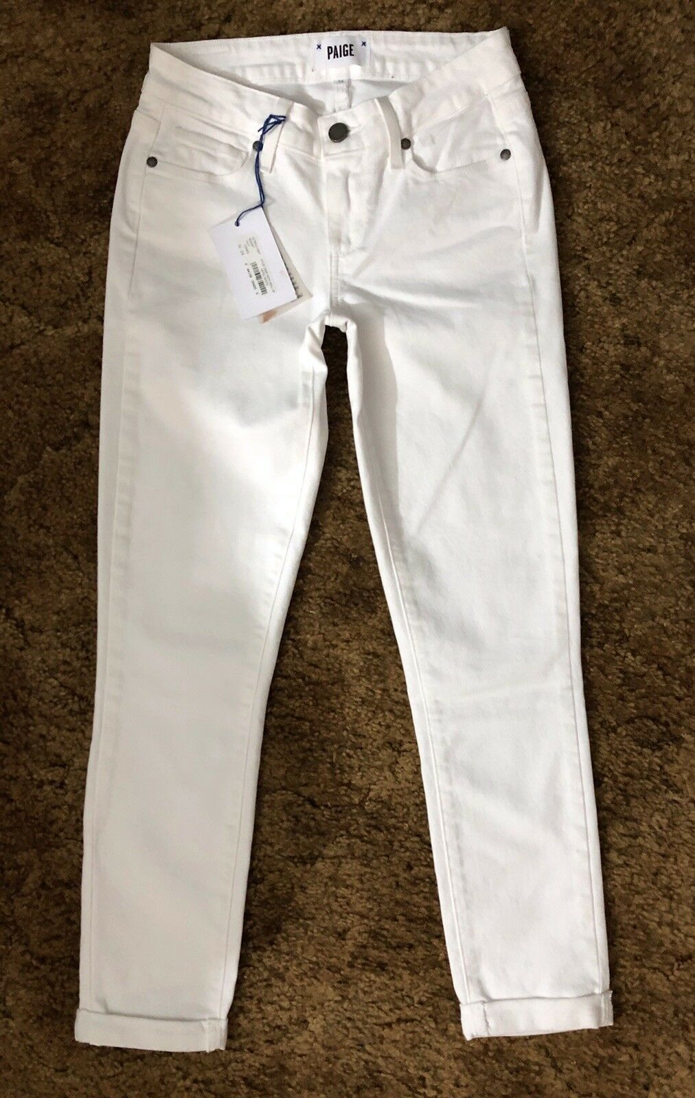 NWT PAIGE Premium Kylie Crop With Roll Up Womens Jeans In Optic White Size 24