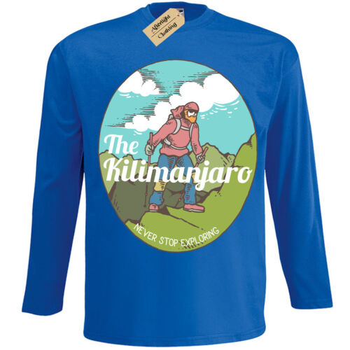 Kilimanjaro T-Shirt mountain climber explorer Mens Long Sleeve