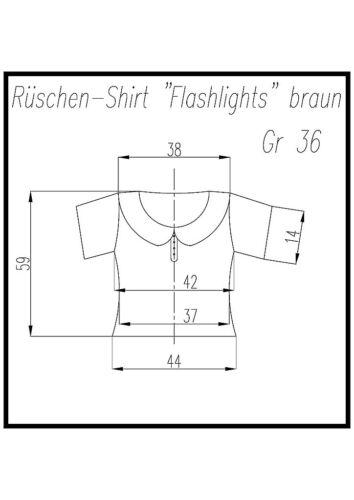 "Damen-Rüschenshirt /""Flashlights/"" braun  Gr 36//38"