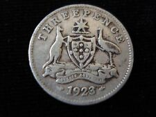 Australian 1923 Threepence Sterling Silver Coin Key Date #SM3