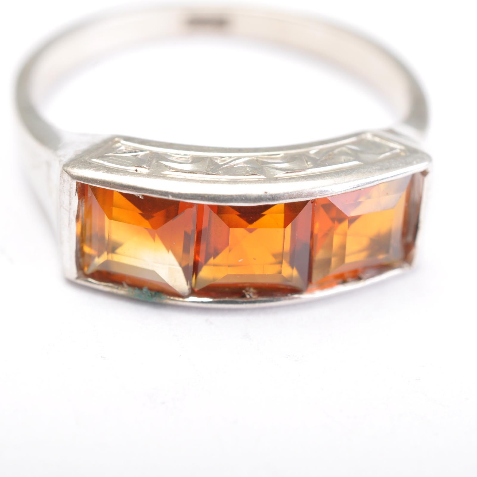 Art Deco Anello argentoo con Citrinen Taglia anello 54 54 54 574551