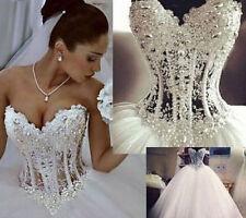 NEW White/ivory Wedding Dress Bridal Ball Gown Stock Size 4-6-8-10-12-14-16-18