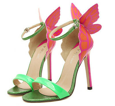 Womens Stilettos Open Toe High Heel Butterfly Ankle Strap Party Sandals Shoes