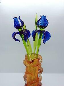 Glass Iris Flower, Long Stem Glass Iris, Hand Blown Iris Flower Glass Figurine