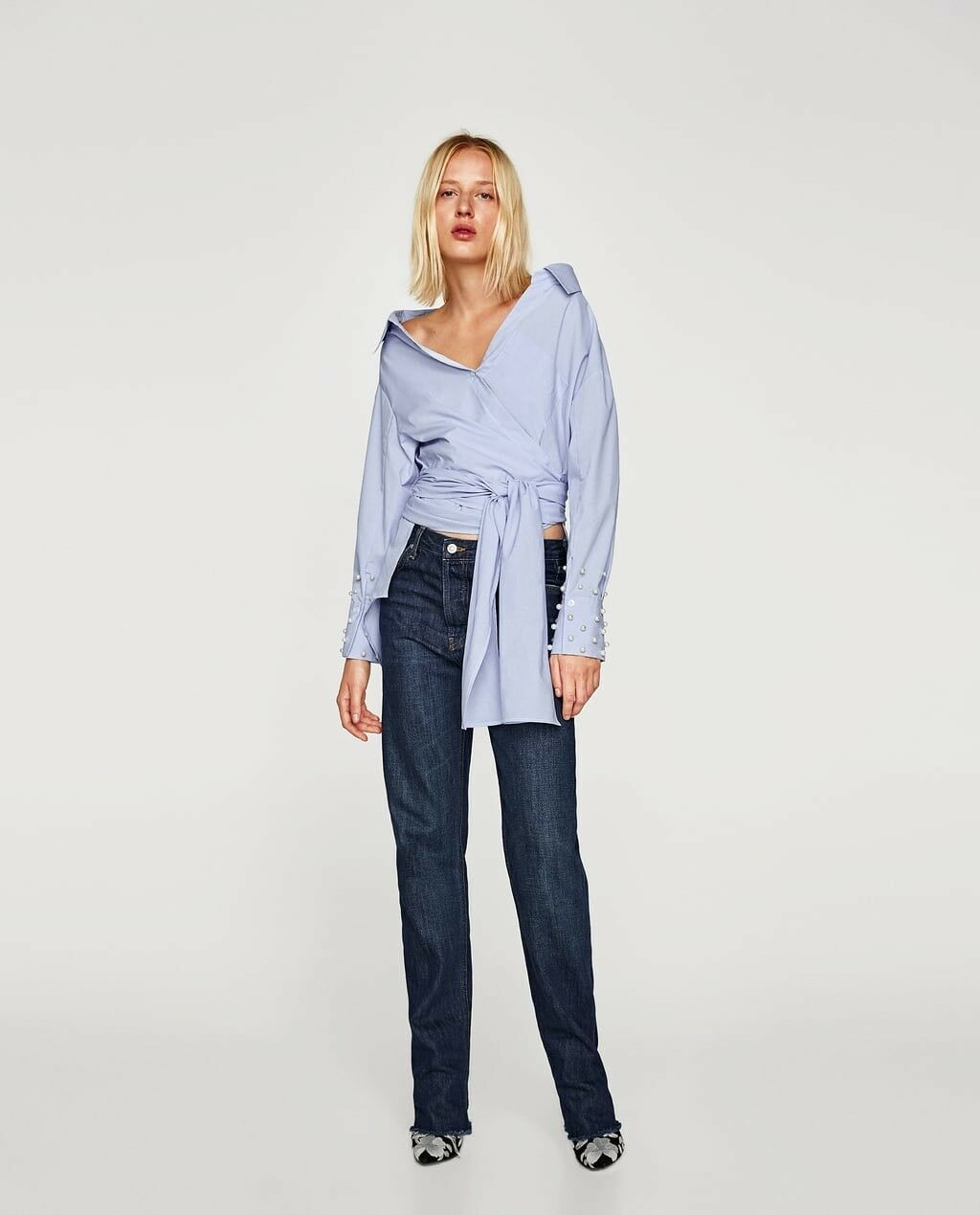 Zara New AW17 Asymmetric Shirt With Pearly Cuffs Tops Größe L NWT