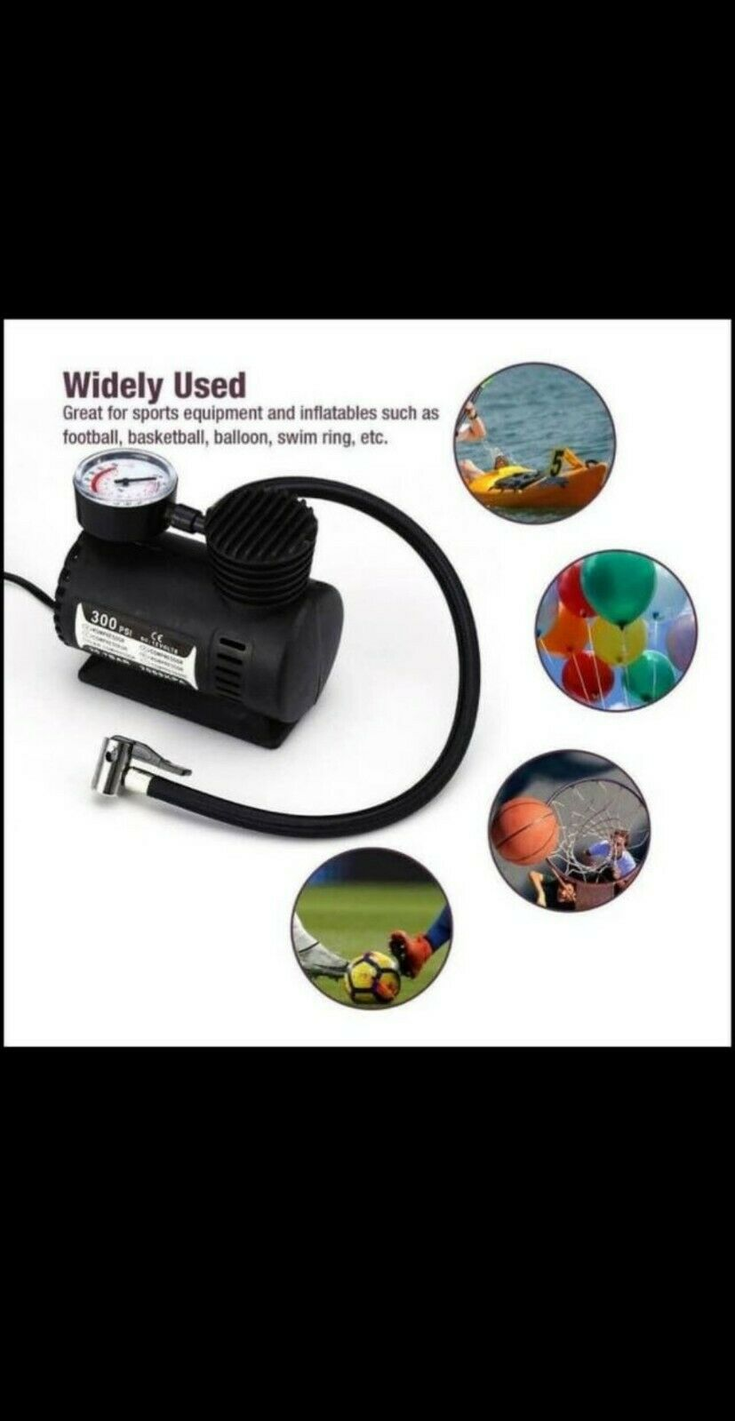 Car Electric Air Pump 300PSI Air Compressor Portable Tire Inflator For Car Bike. Available Now for 13.99