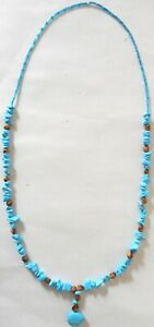 Navajo-Ghost-Cedar-Beads-Juniper-Turquoise-BEAR-30-034-Necklace-by-R-Manygoats