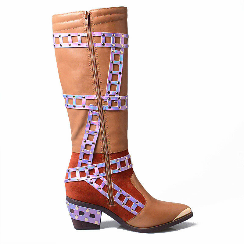Gothic Women Metal decor Block Heels shoes Leather Knee High High High Knight Boots Winter e66fc2