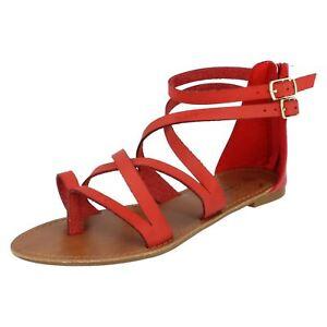 Spot On F0R696 Ladies Red Gladiator Sandals (R4B)